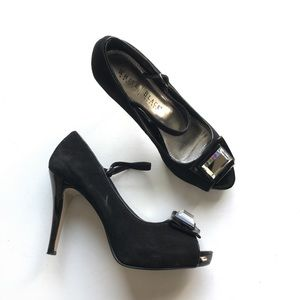 White House Black Market Carmen Heel Peep Toe Gem